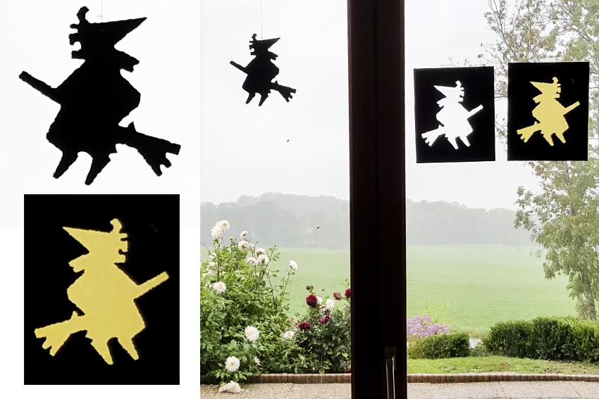 Illustration DIY d'HALLOWEEN - La sorcière sur son balai