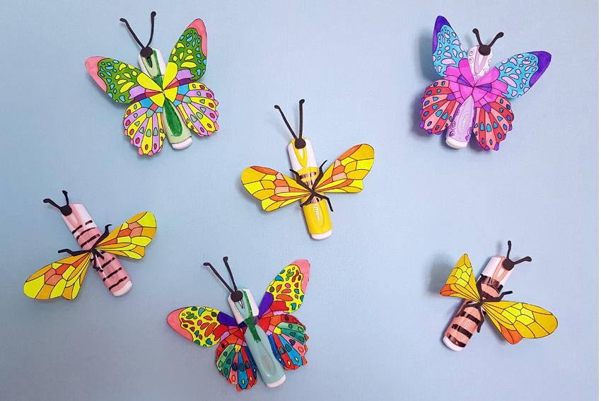 Illustration DIY - Abeilles et Papillons avec des surligneurs