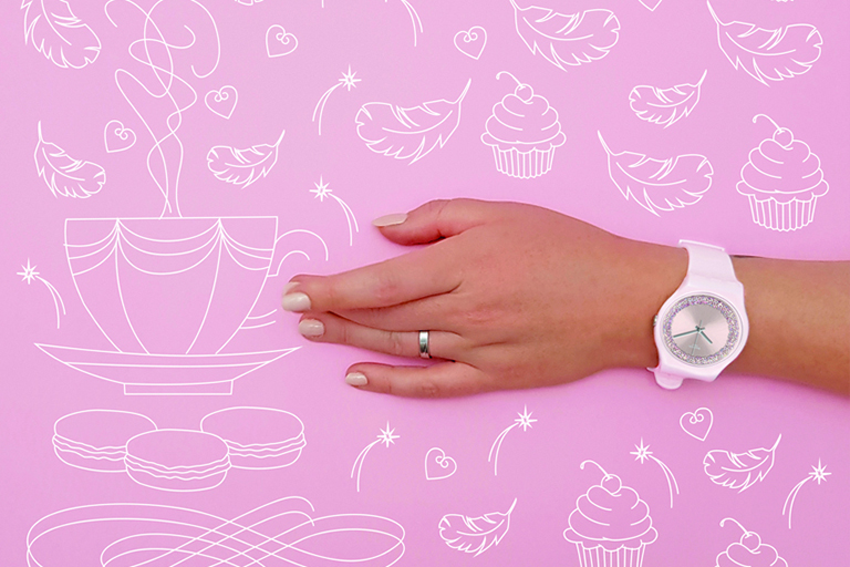 Illustration Collaboration avec Swatch - pink sparkle